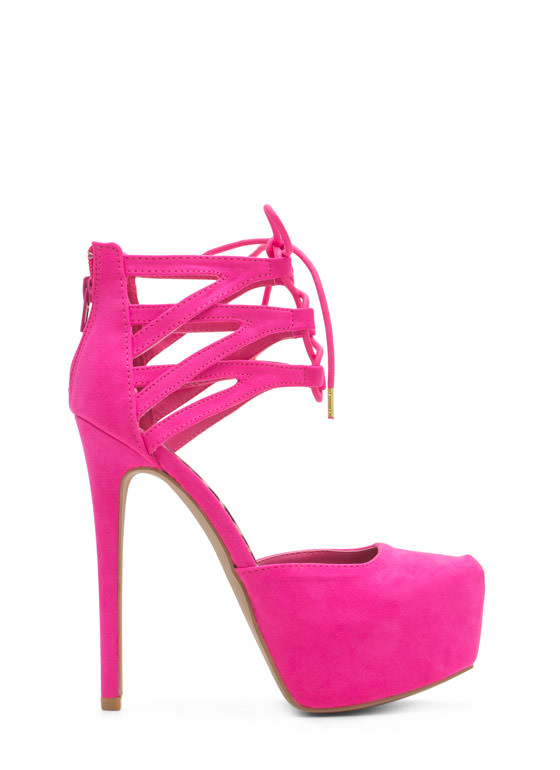 Windowpane Lattice Platform Heels HOTPINK