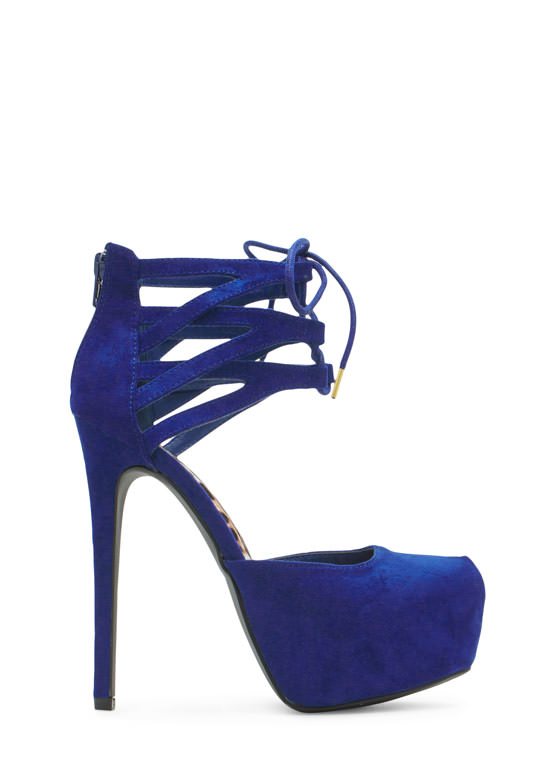 Windowpane Lattice Platform Heels ROYAL