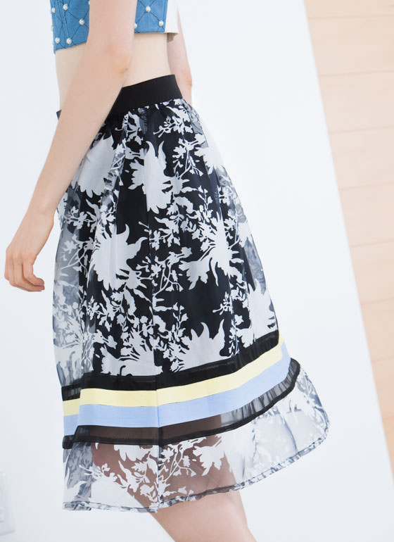 Floral Arrangement Contrast Stripe Skirt MULTI