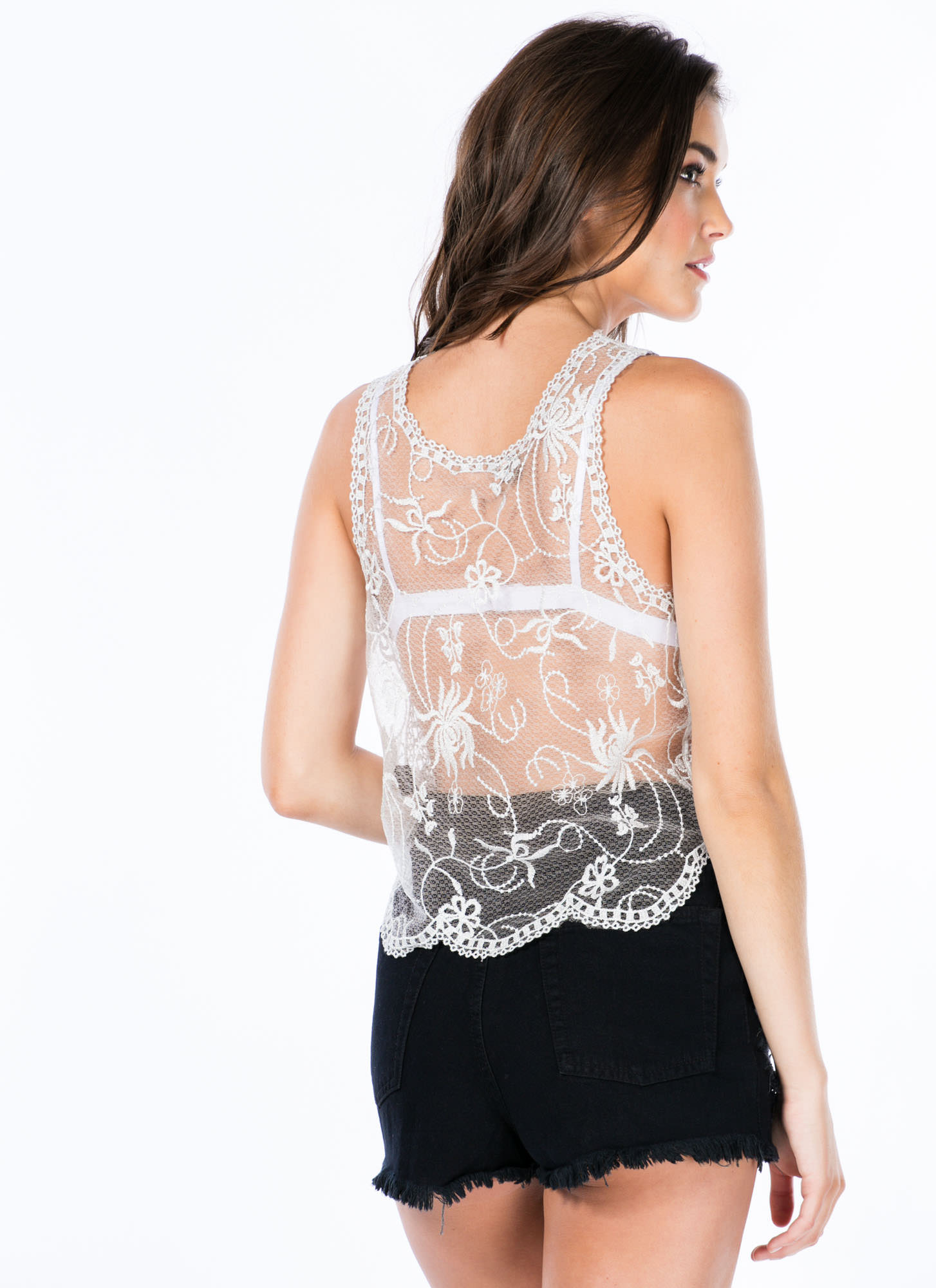 Sheer Embroidered Metallic Tank SILVER