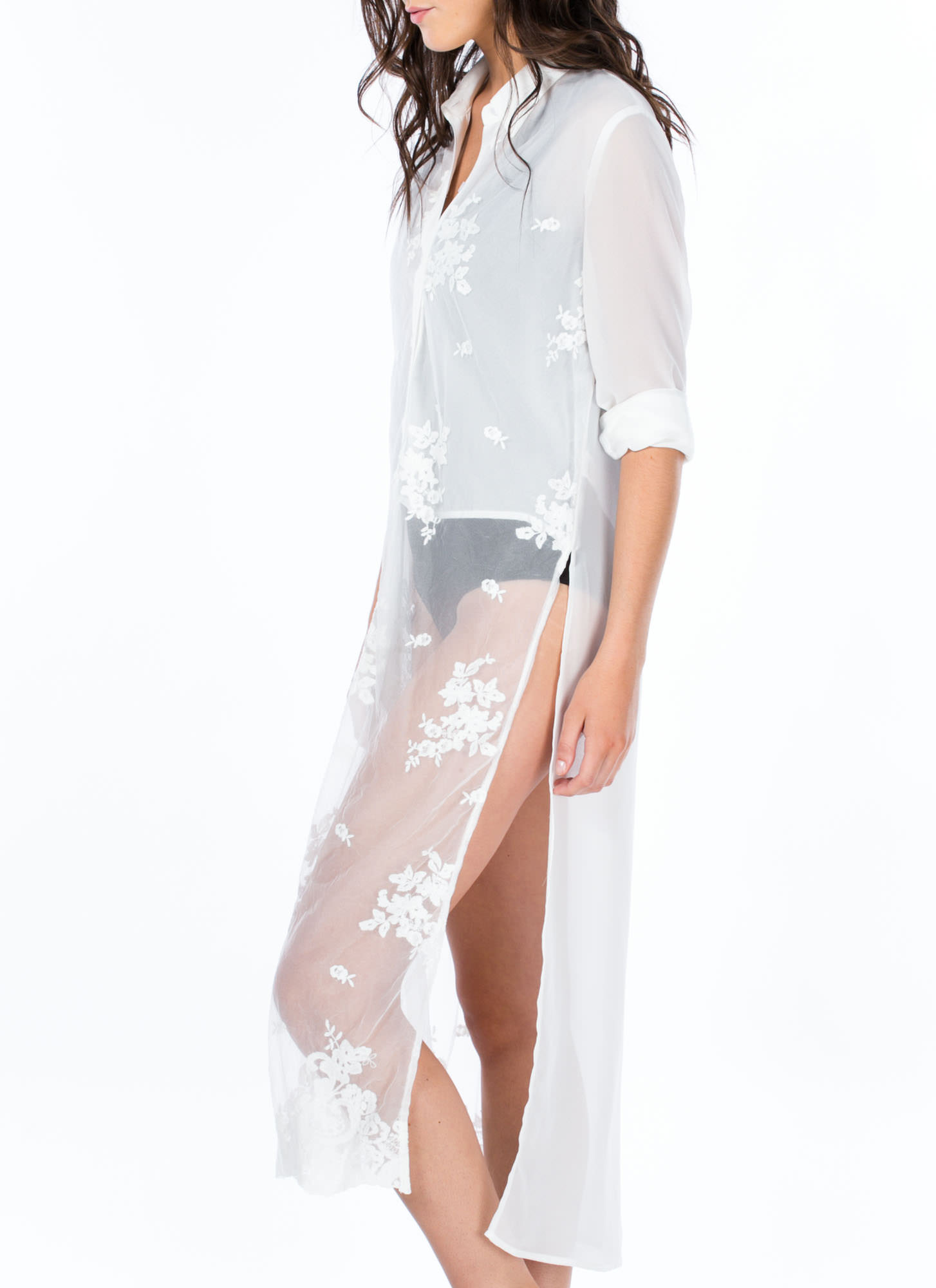 Sheer Obsession Embroidered Shirt Dress WHITE