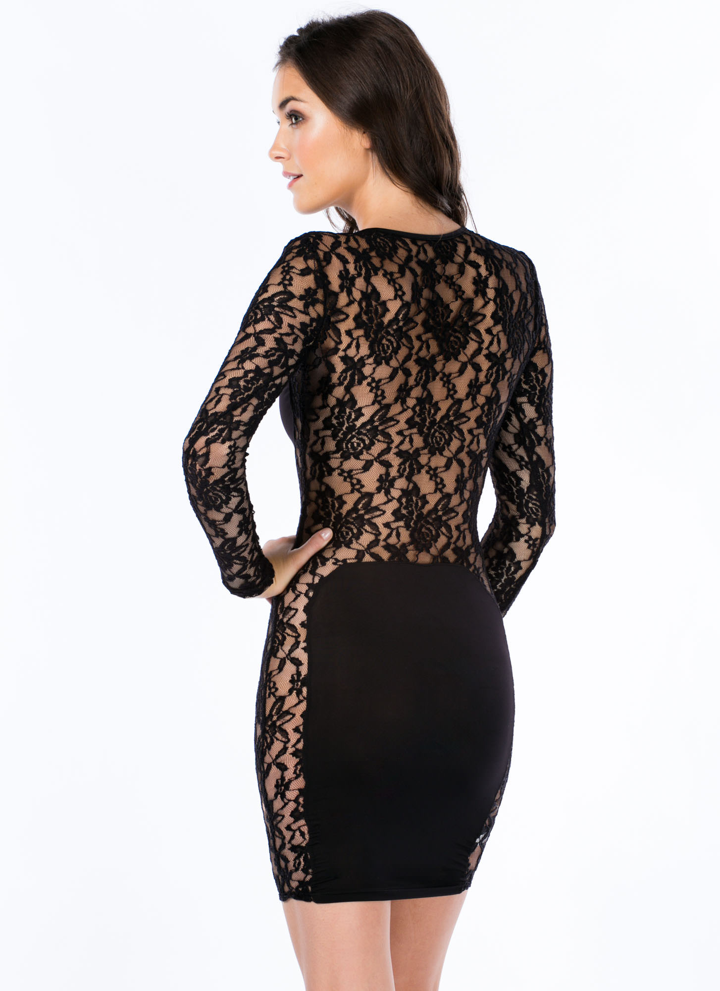 Lace Is More Contrast Bodycon Dress BLACK