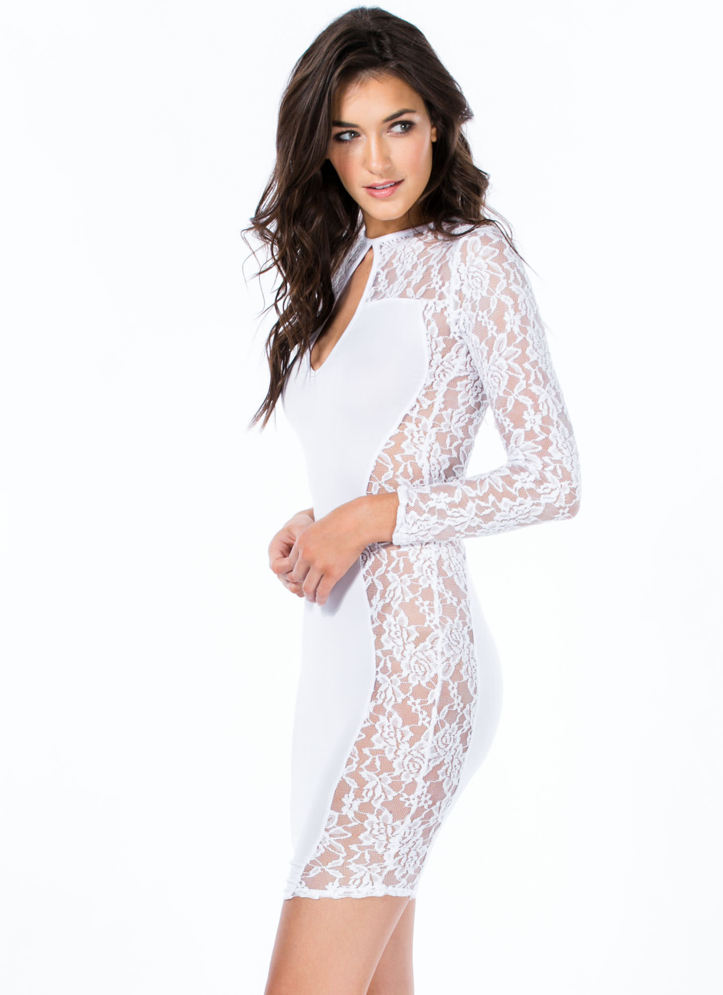 Lace Is More Contrast Bodycon Dress WHITE