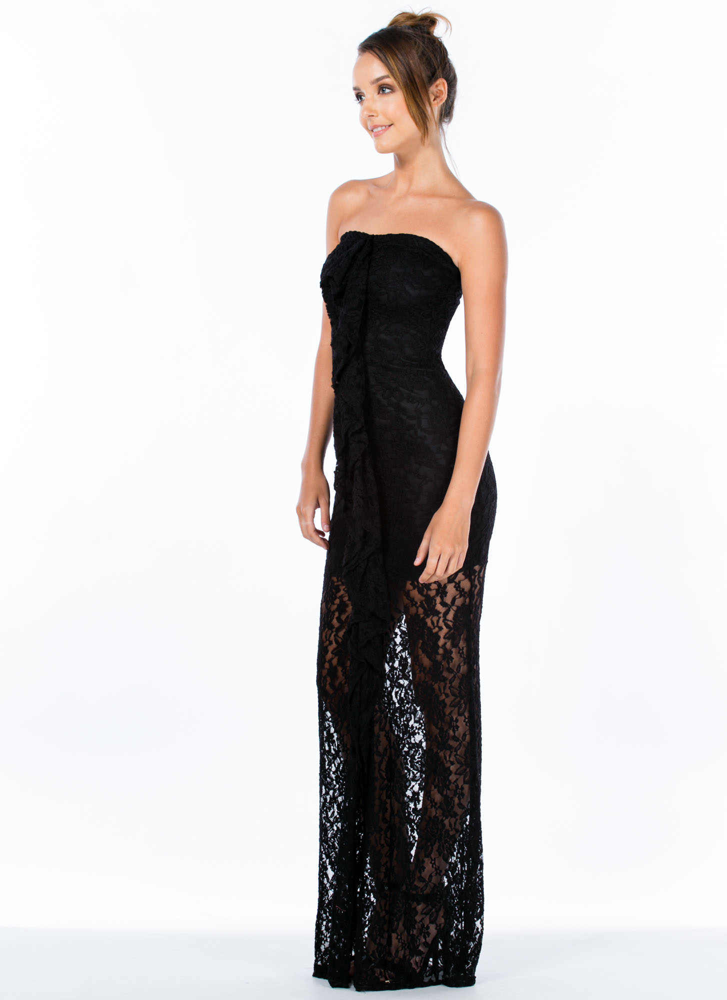 Lace Is More Strapless Ruffle Maxi Dress BLACK