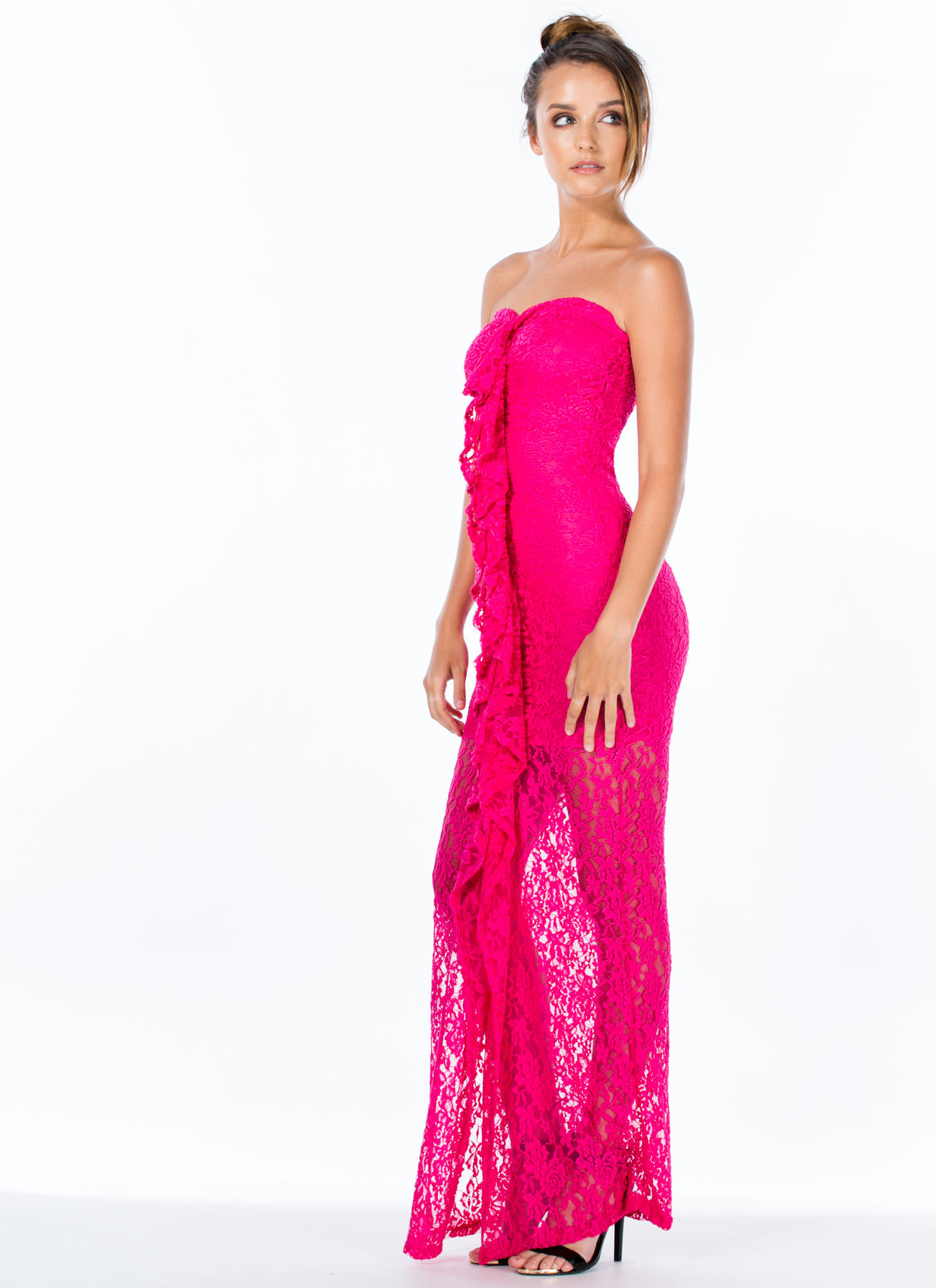 Lace Is More Strapless Ruffle Maxi Dress FUCHSIA