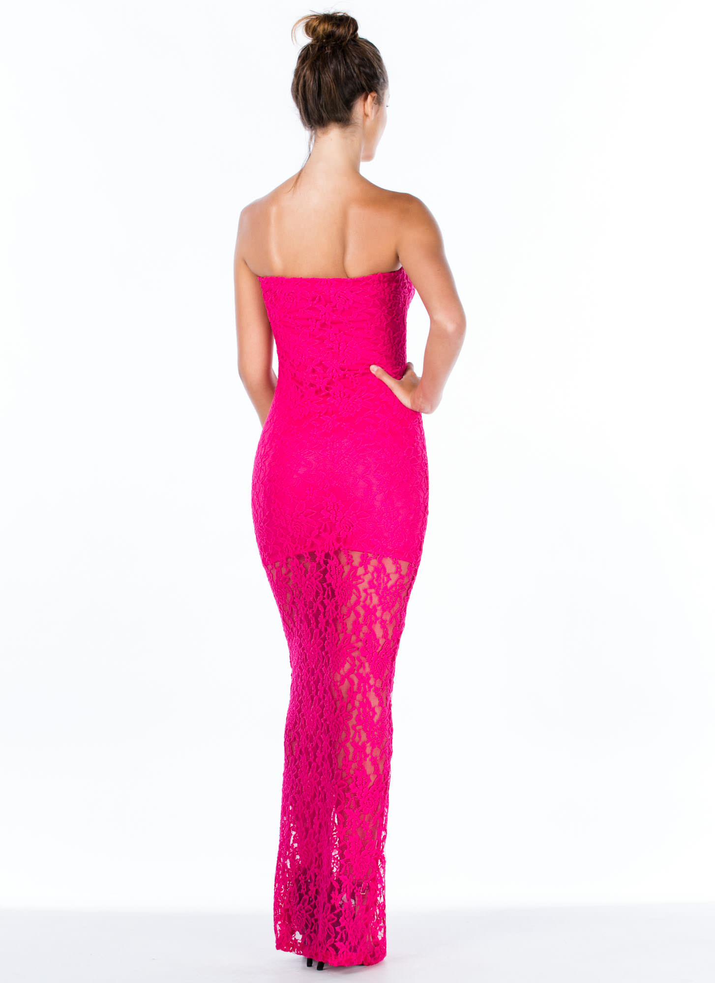 Lace Is More Strapless Ruffle Maxi Dress FUCHSIA (Final Sale)