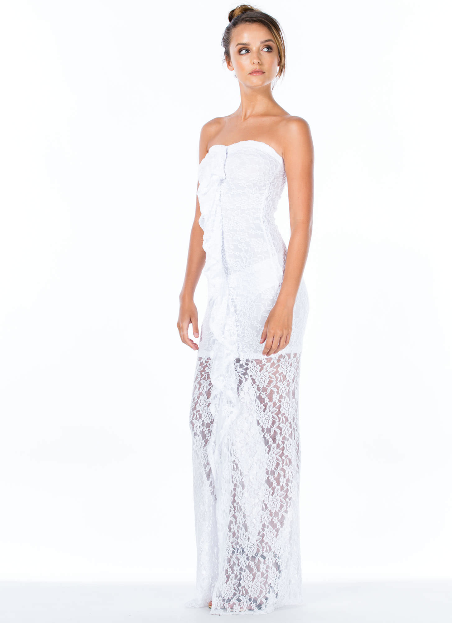 Lace Is More Strapless Ruffle Maxi Dress WHITE