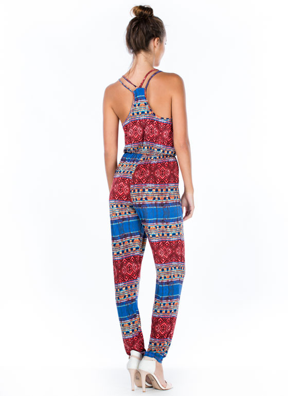 Tribal Print-cess Surplice Jumpsuit BURGUNDY