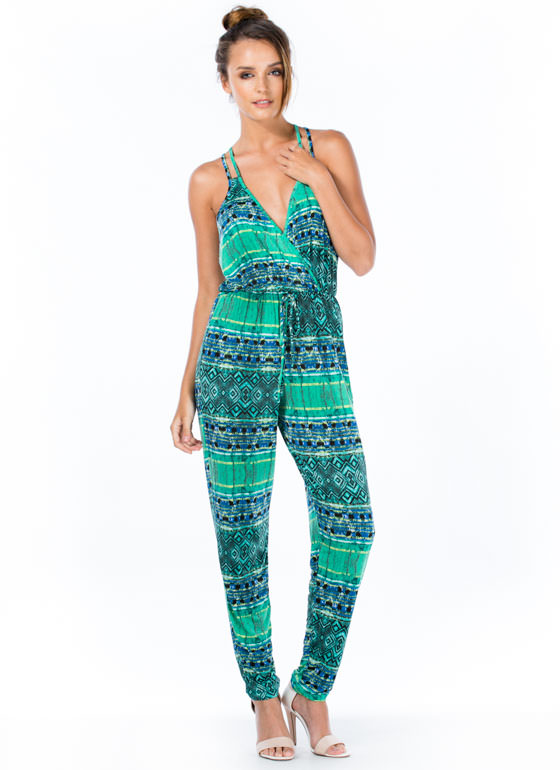 Tribal Print-cess Surplice Jumpsuit JADE