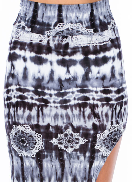 Radial-Active Tie-Dye Maxi Skirt BLACK
