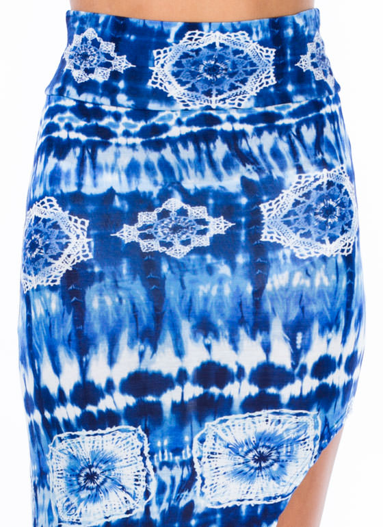 Radial-Active Tie-Dye Maxi Skirt ROYAL
