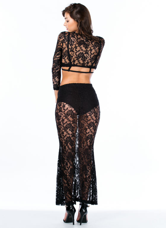Lace Is More Top And Mermaid Maxi Set BLACK