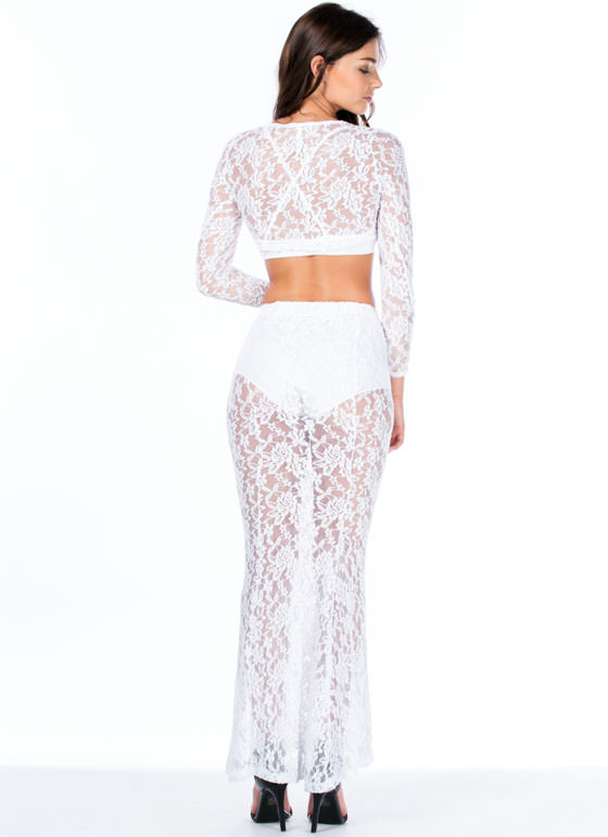 Lace Is More Top And Mermaid Maxi Set WHITE