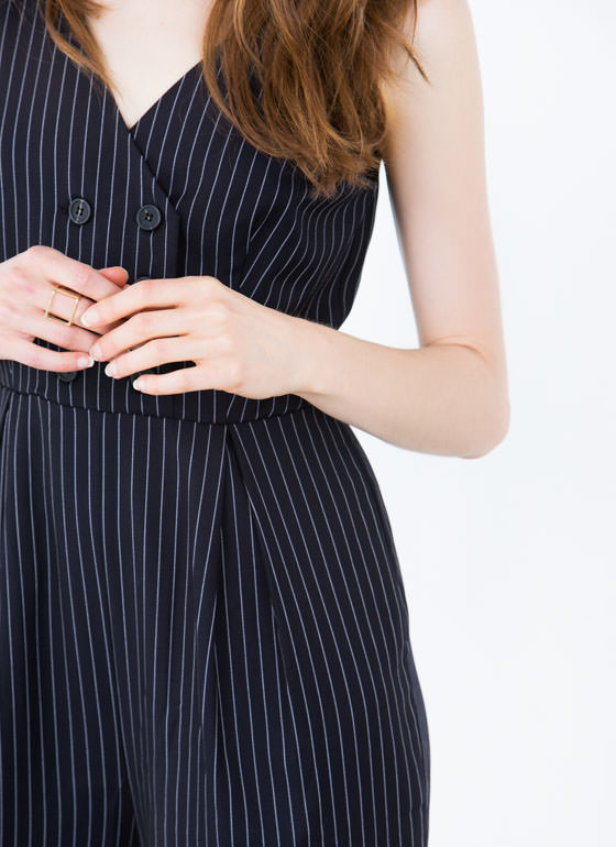Best Of The Vest Pinstripe Jumpsuit NAVY