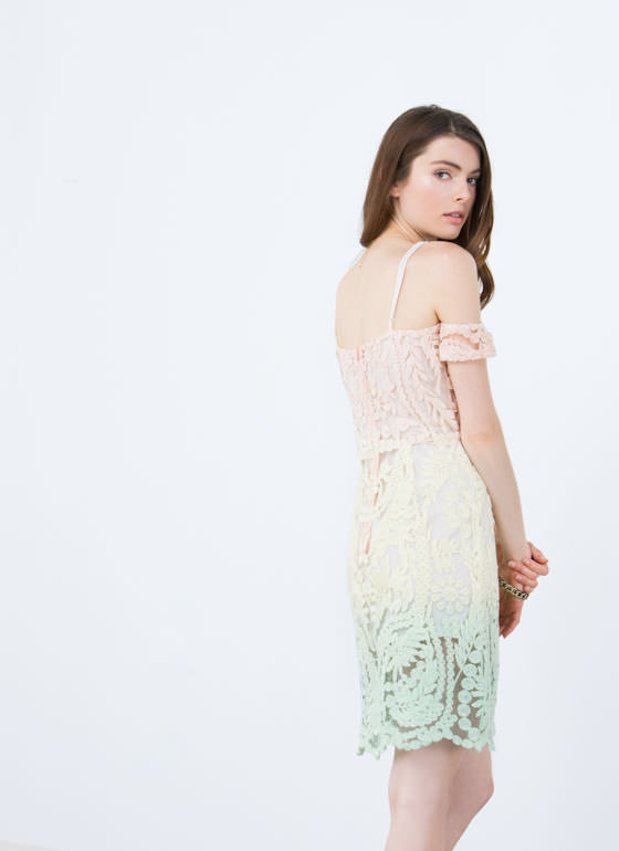 Ombre Crochet Off-The-Shoulder Dress MULTI