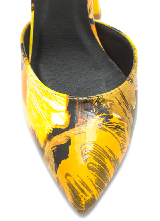 Flat Out Amazing Painted Cuffed Heels YELLOW