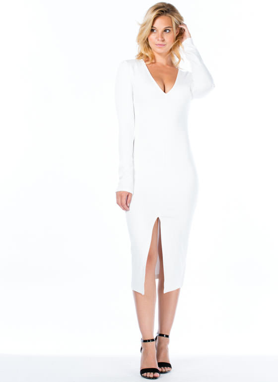 Slit To Fit Bodycon Dress WHITE