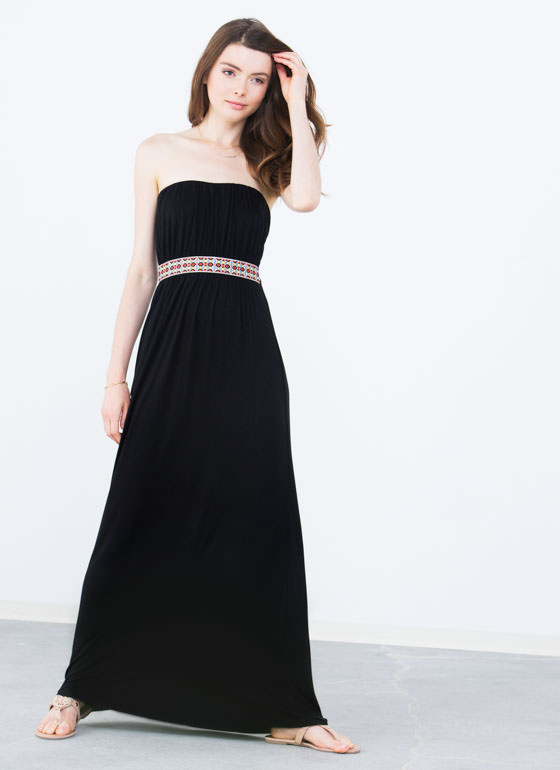 Grecian Tile Ribbon Maxi Dress BLACK