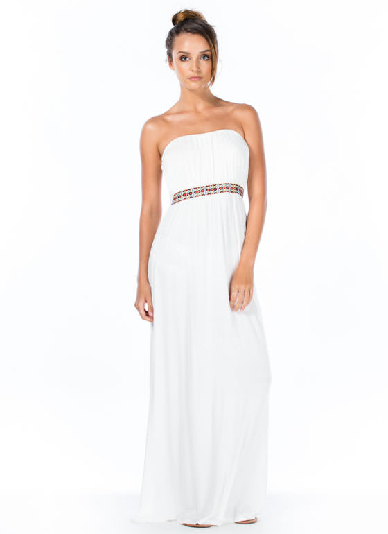 Grecian Tile Ribbon Maxi Dress WHITE
