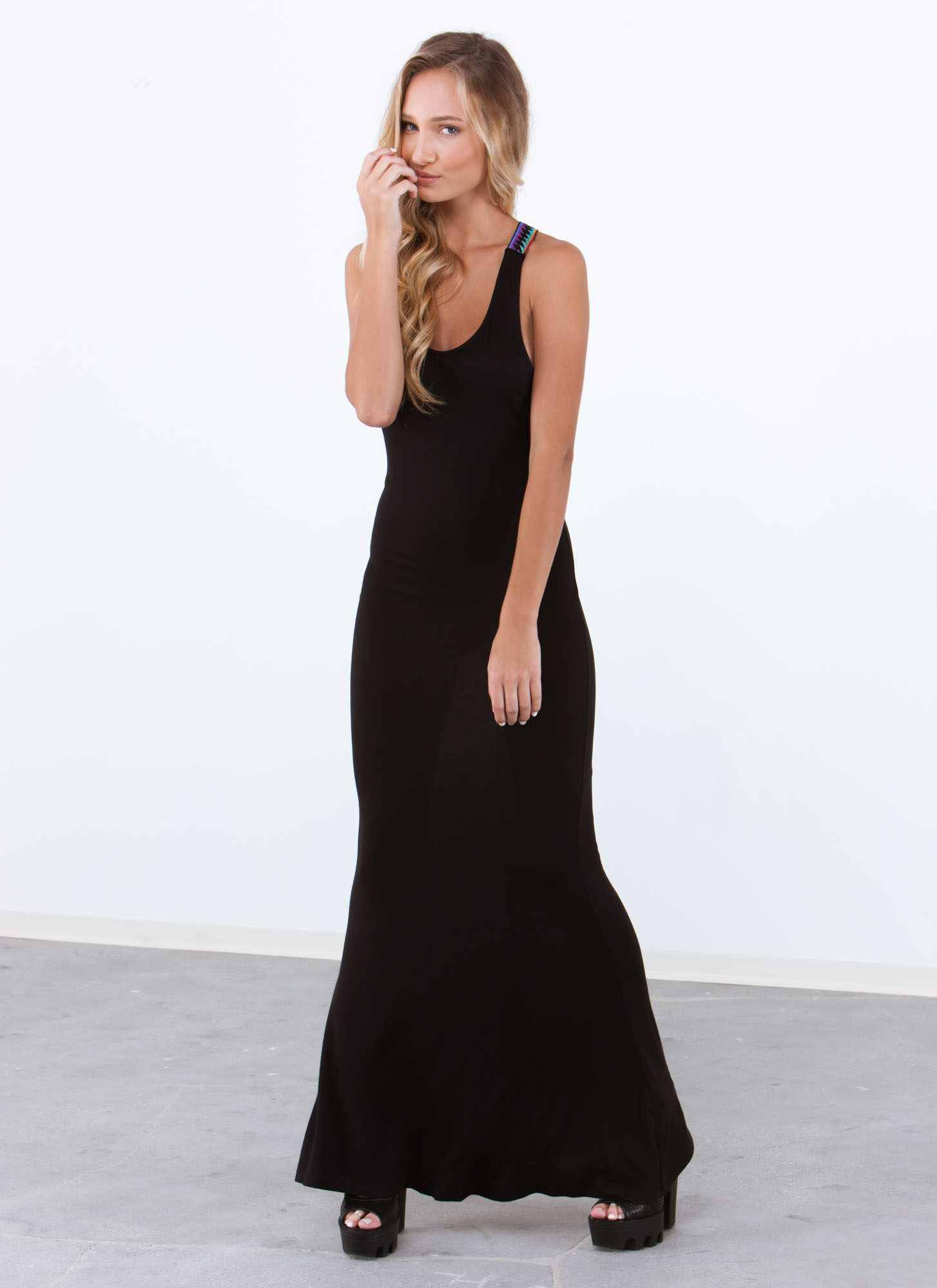 Embroidered Y-Strap Maxi Dress BLACK