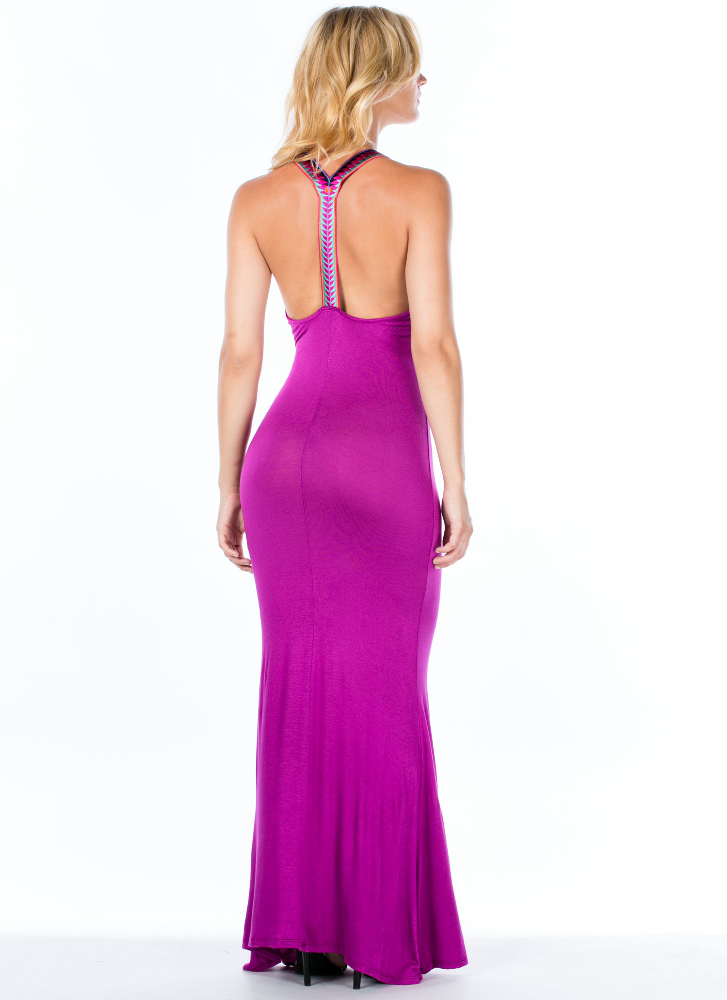 Embroidered Y-Strap Maxi Dress FUCHSIA