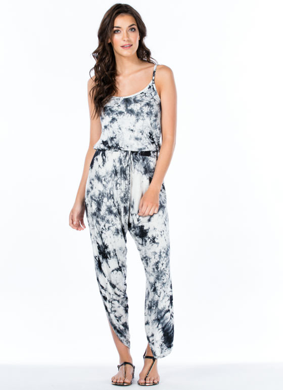 Split Second Tie-Dye Petal Jumpsuit BLACK
