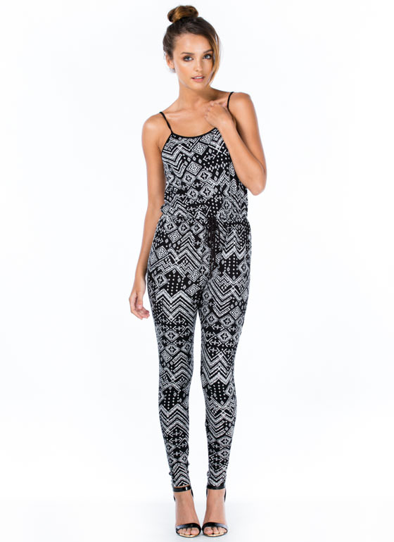 Print Bandit Drop Crotch Jumpsuit BLACK
