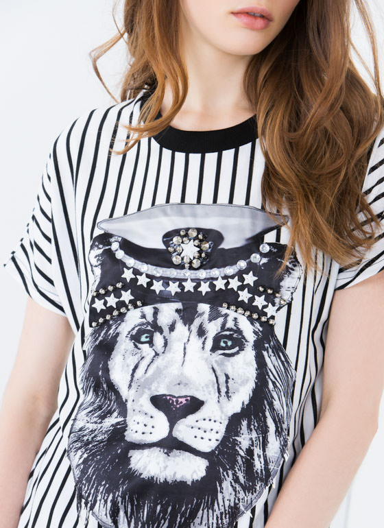 Embellished Lion Striped Tee WHITEBLACK