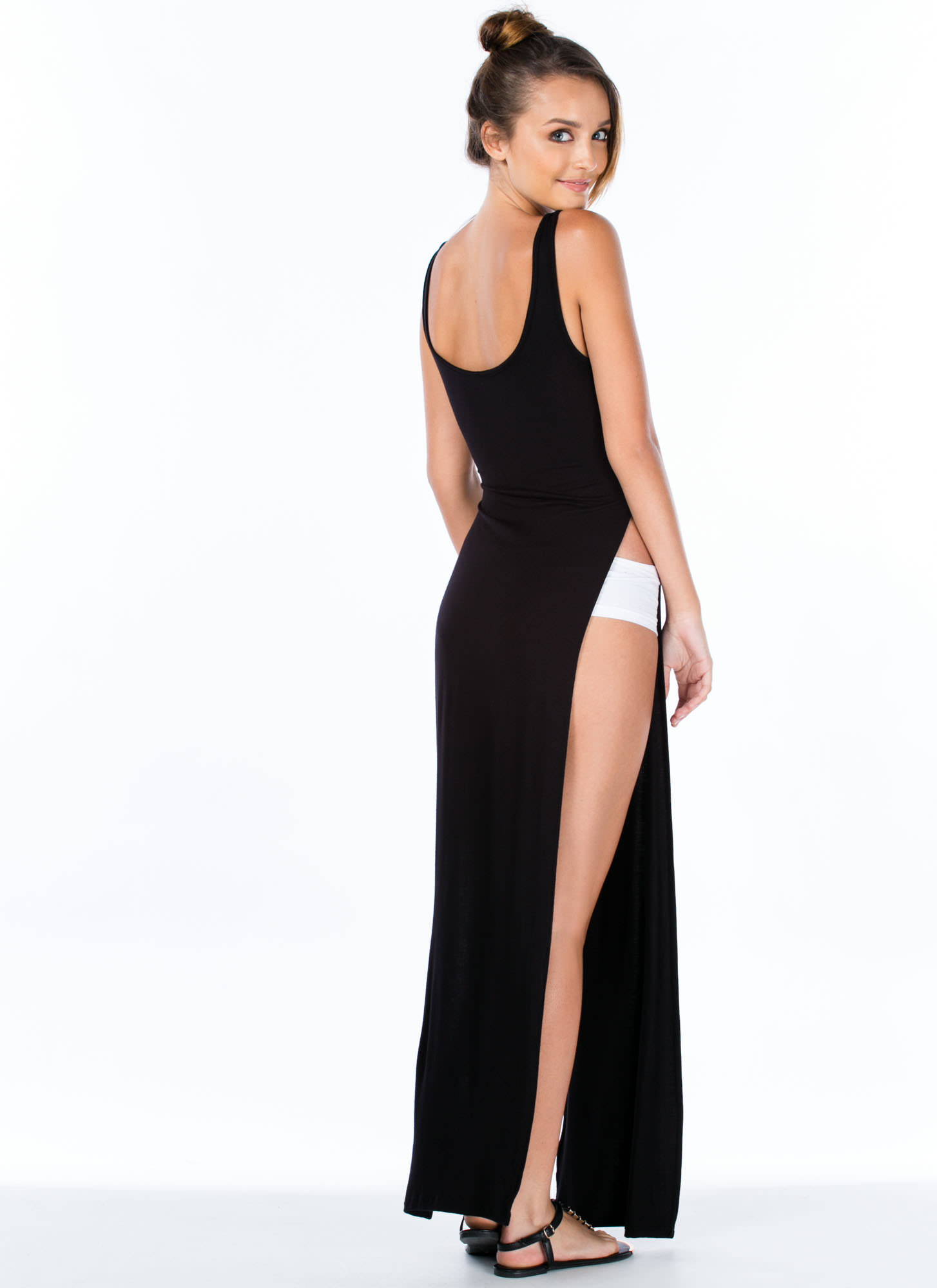 Ultra Double Slit Knotted Maxi Dress BLACK
