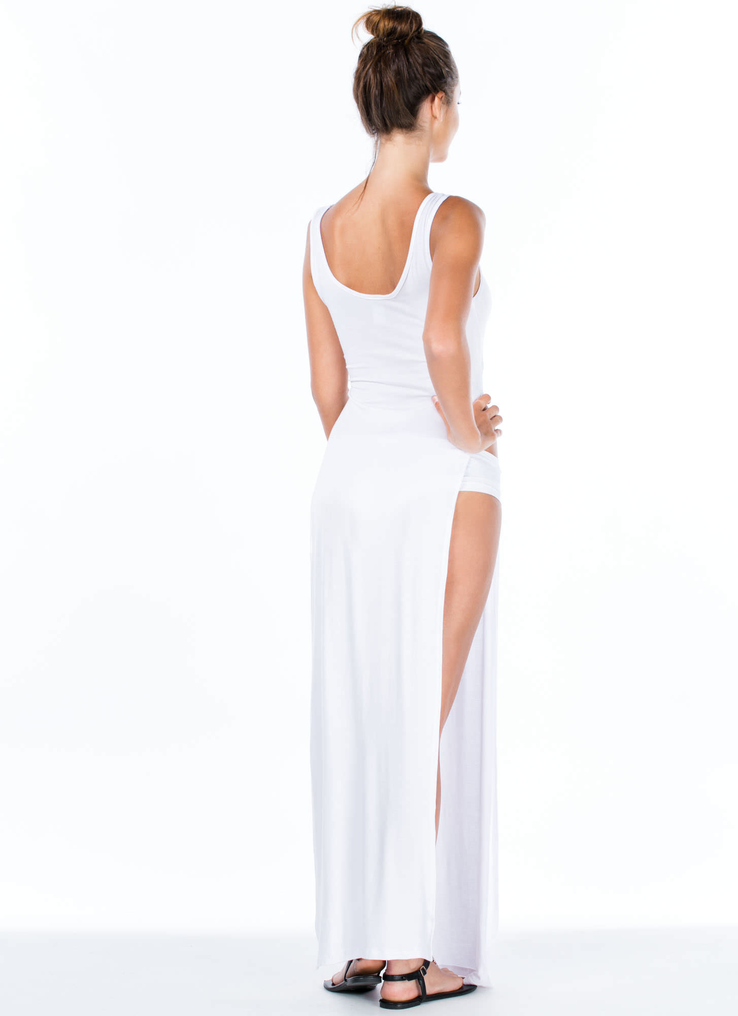Ultra Double Slit Knotted Maxi Dress WHITE