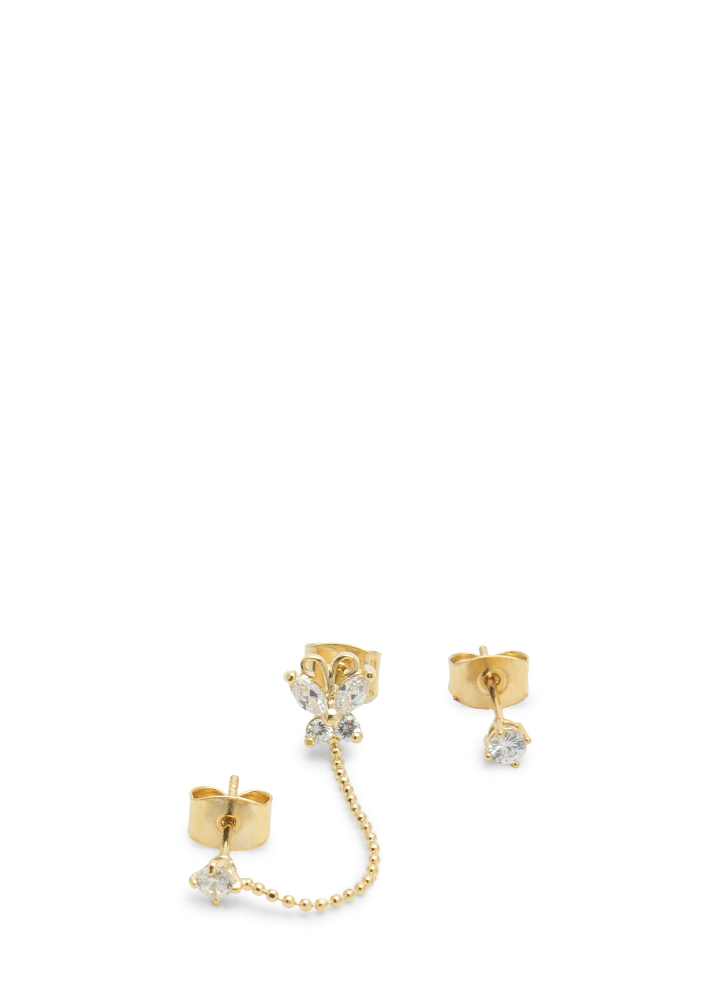 Chained Butterfly Jeweled Earring Set GOLD