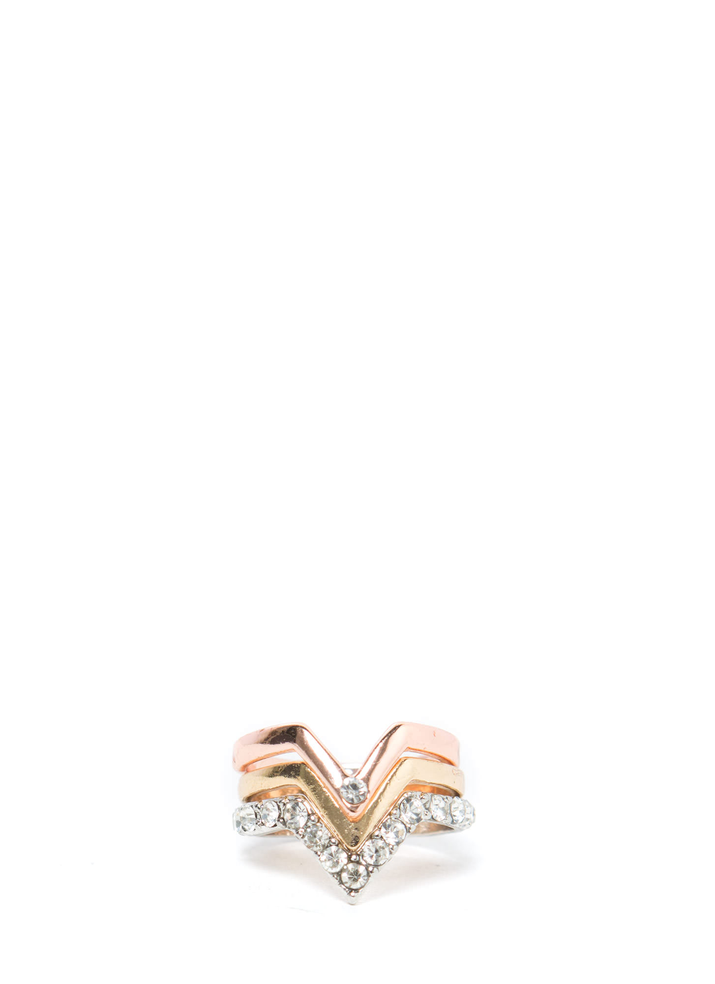 Metallic V-Shaped Midi Ring Trio MULTI