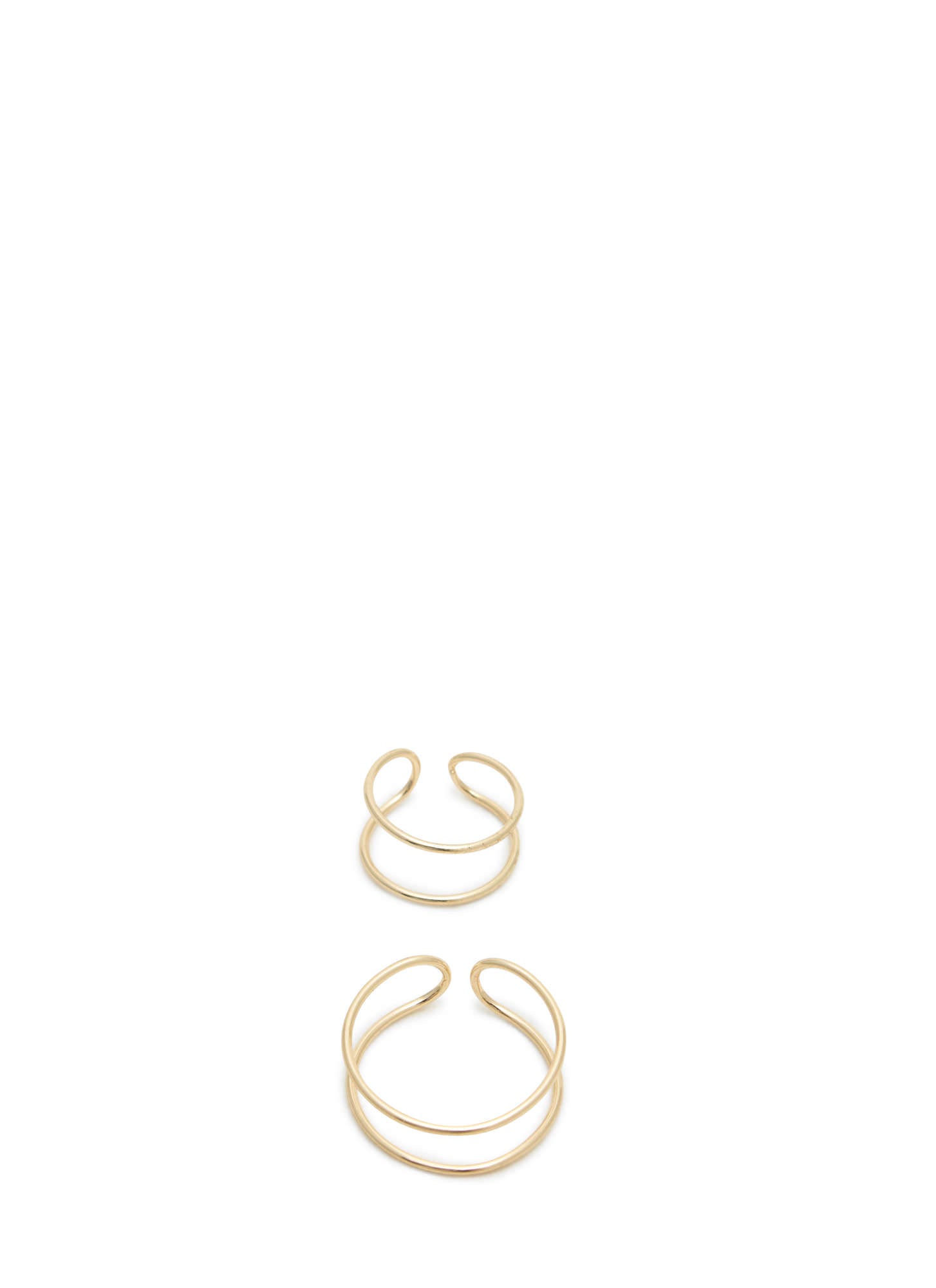 Open Cut-Out Ring 'N Midi Ring Set GOLD