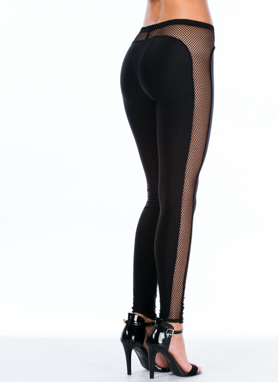 Plenty Of Fishnet In The Sea Leggings BLACK
