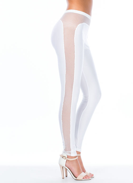 Plenty Of Fishnet In The Sea Leggings WHITE