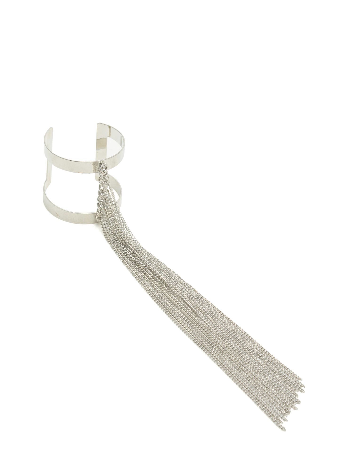 Long Fringe Cut-Out Cuff SILVER