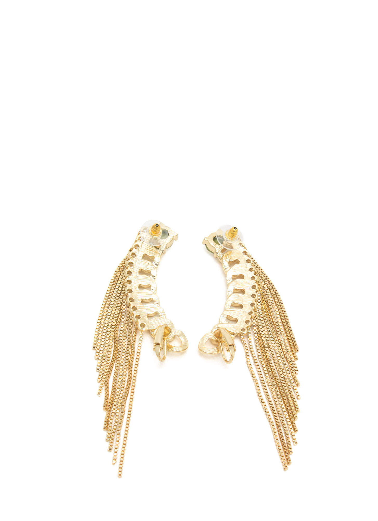 Curb Chain Fringed Ear Cuff Duo GOLD