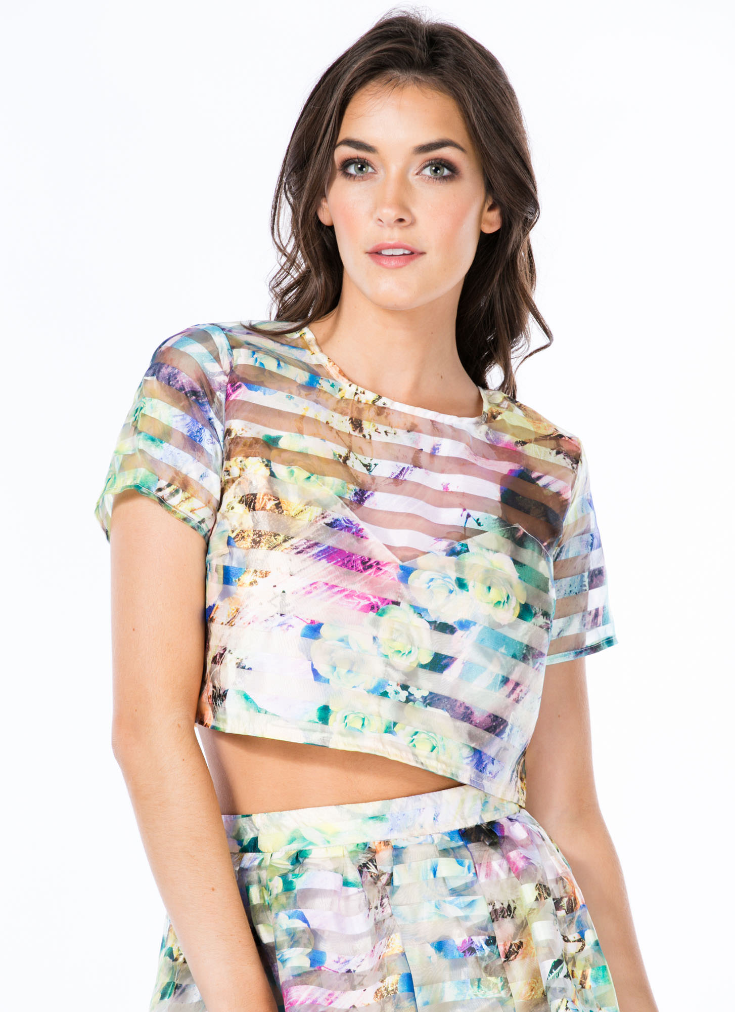 Sheer Play Floral Organza Cropped Top GREEN