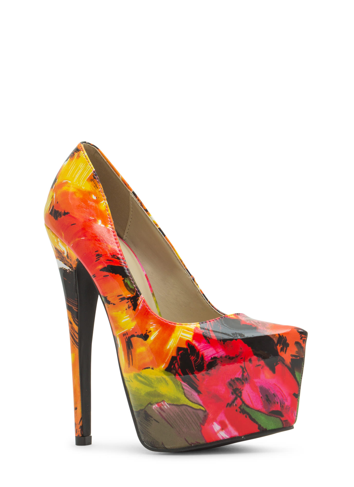 Faux Patent Leather Brushstroked Heels REDMULTI