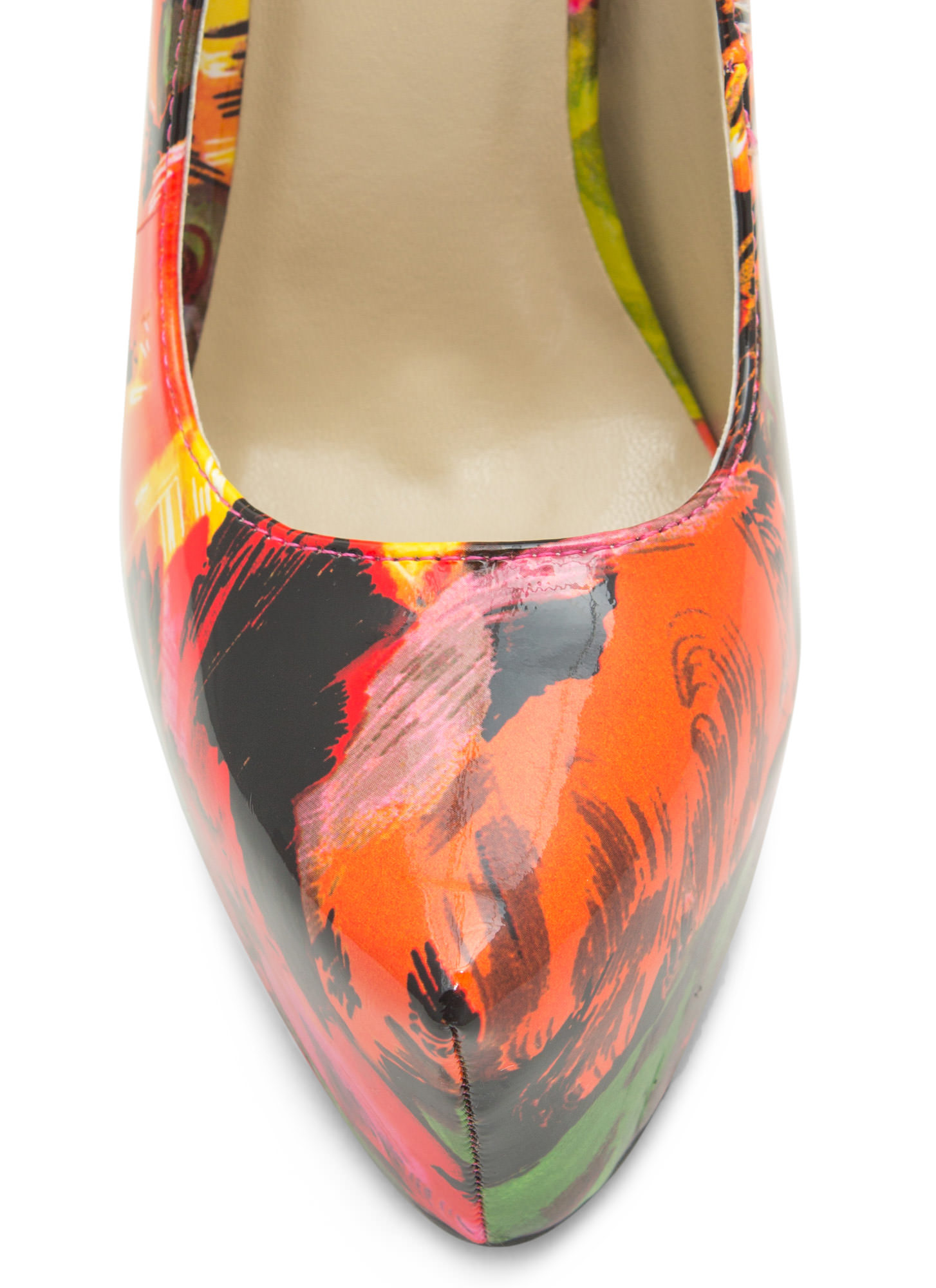 Faux Patent Leather Brushstroked Heels REDMULTI (Final Sale)
