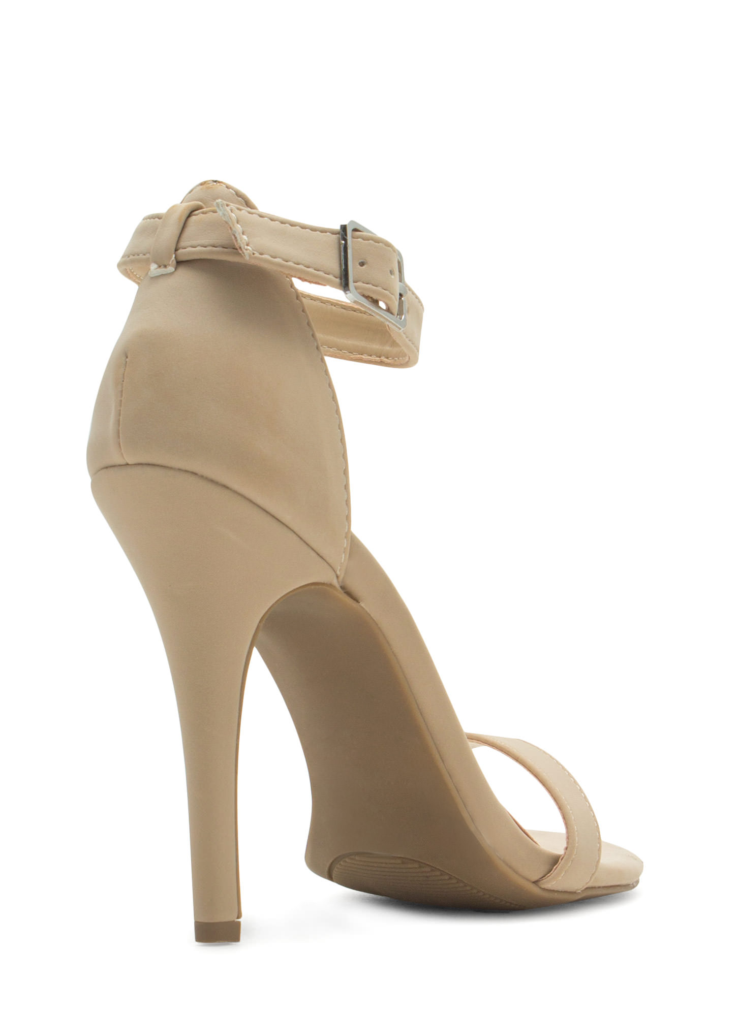 Singled Out Faux Nubuck Heels NUDE