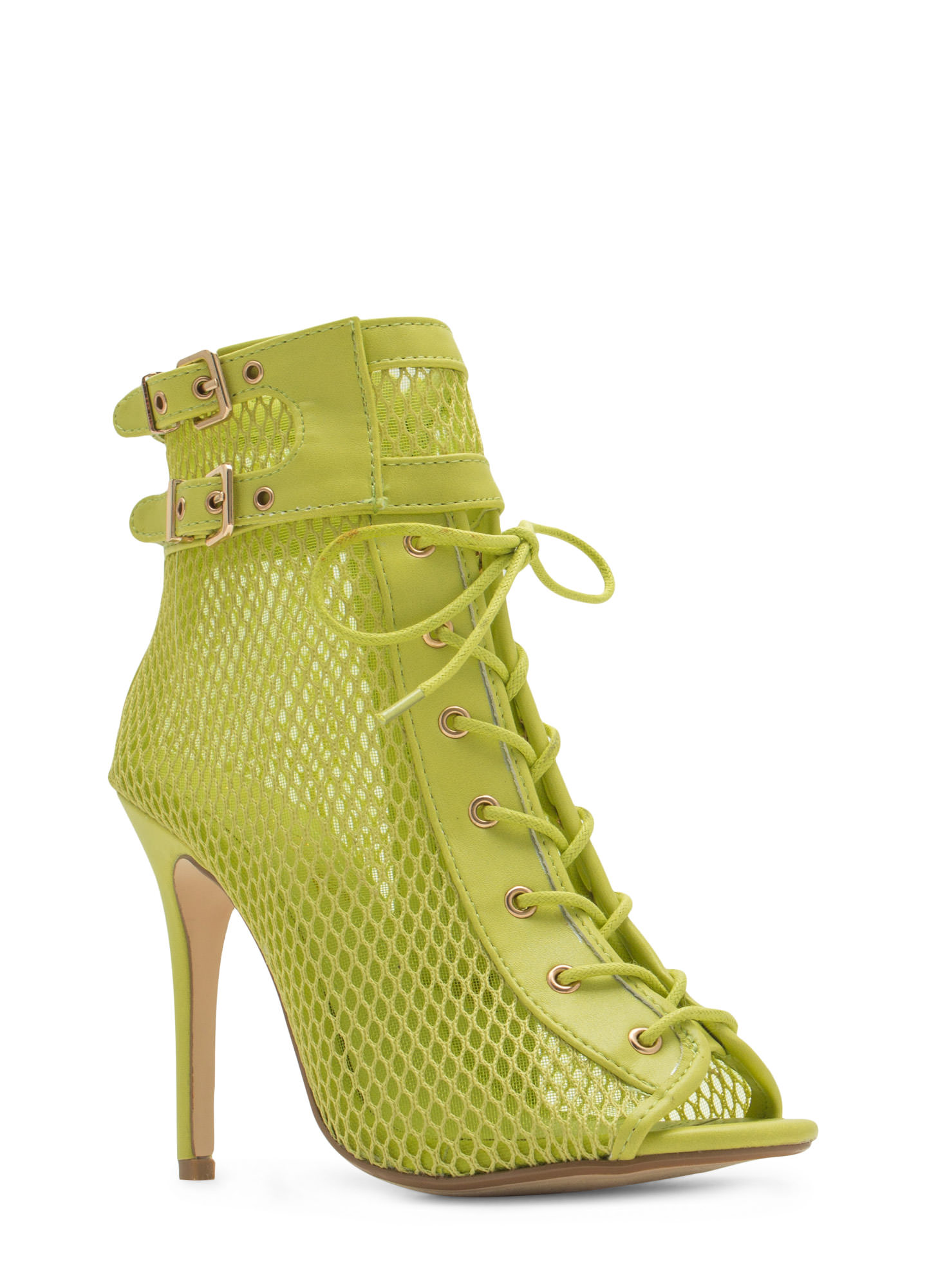 Pretty Mesh Faux Leather Lace-Up Booties LIME