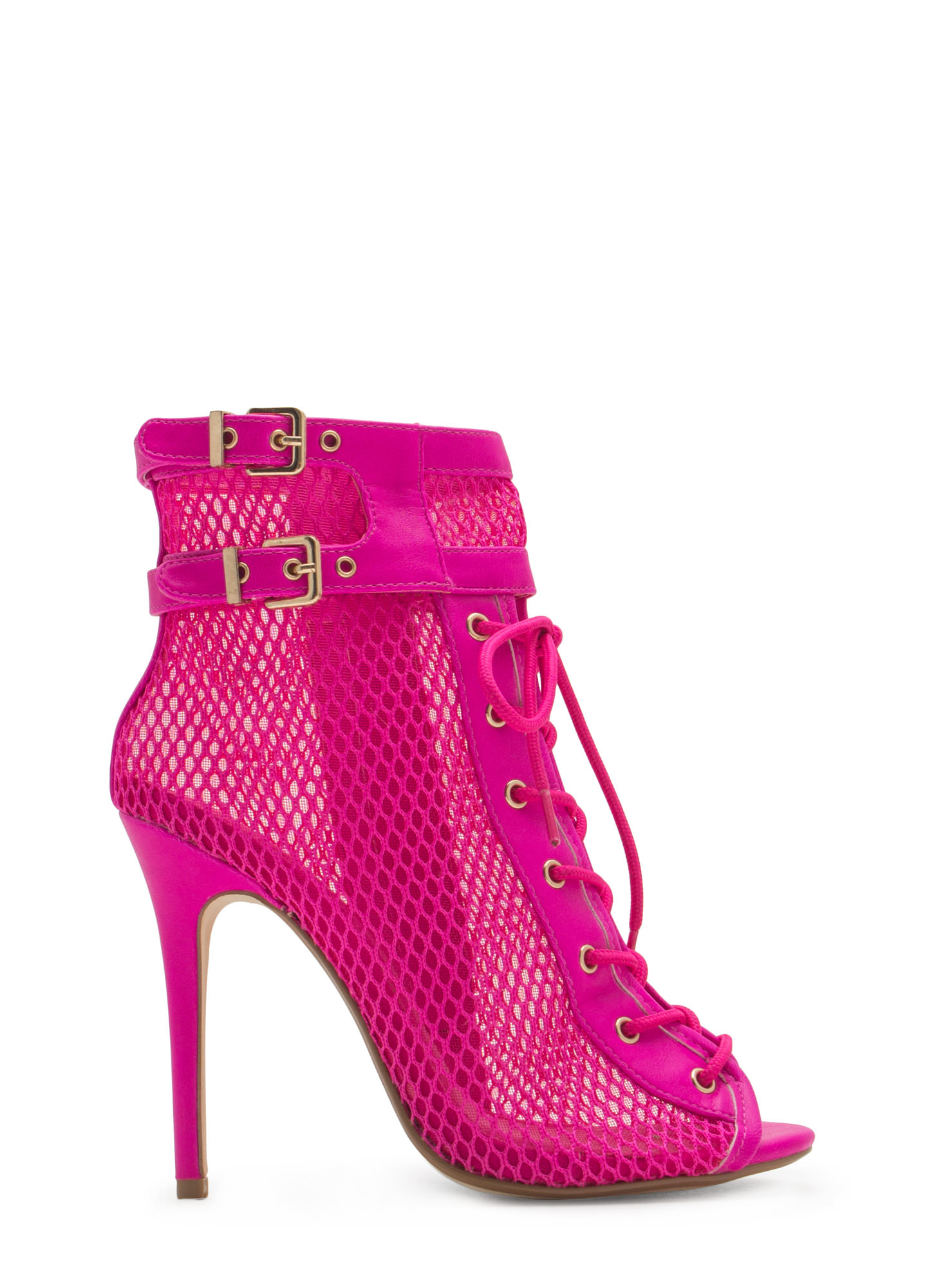 Pretty Mesh Faux Leather Lace-Up Booties MAGENTA