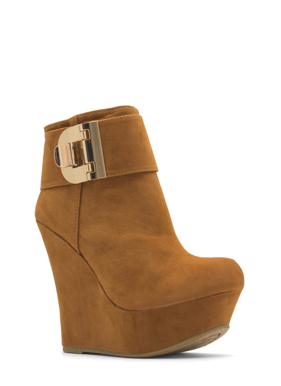 Buckle U Up Velvet Wedge Booties CHESTNUT