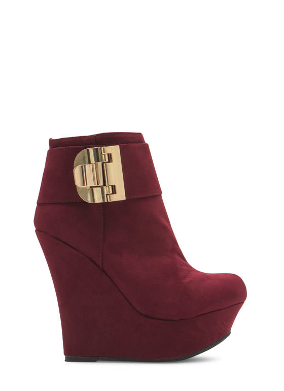 Buckle U Up Velvet Wedge Booties OXBLOOD