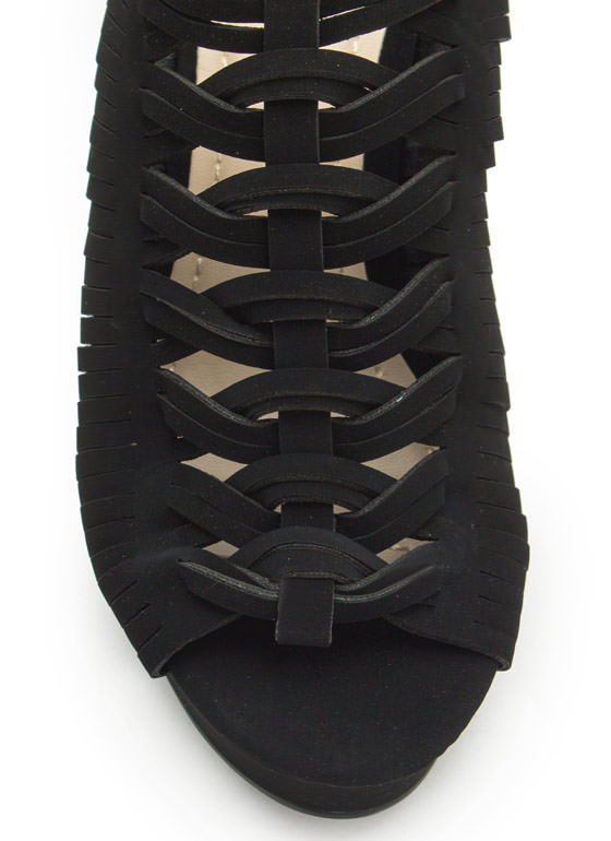 Diamond Cut-Out Slide Wedges BLACK