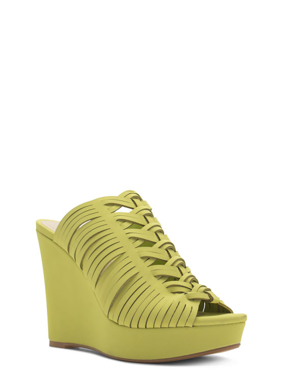 Diamond Cut-Out Slide Wedges LIME