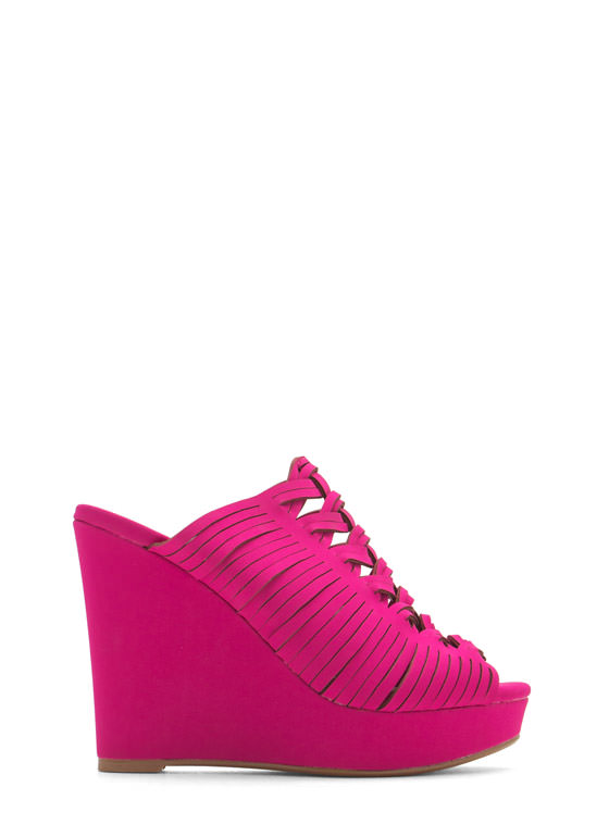 Diamond Cut-Out Slide Wedges MAGENTA