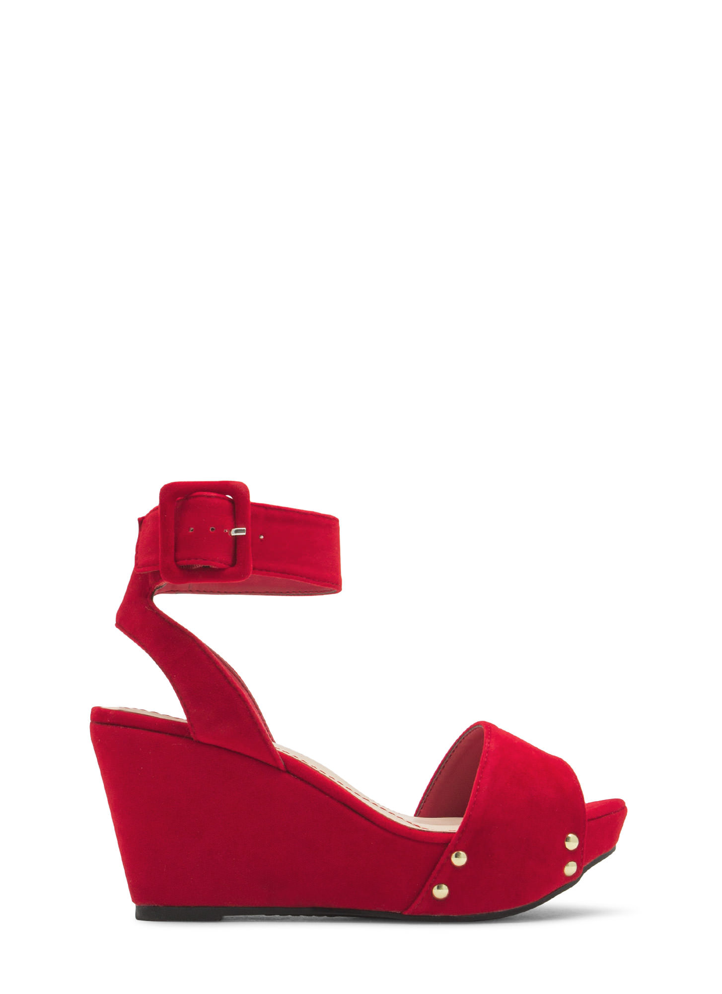 Velvet 'N Grommets Platform Wedges RED