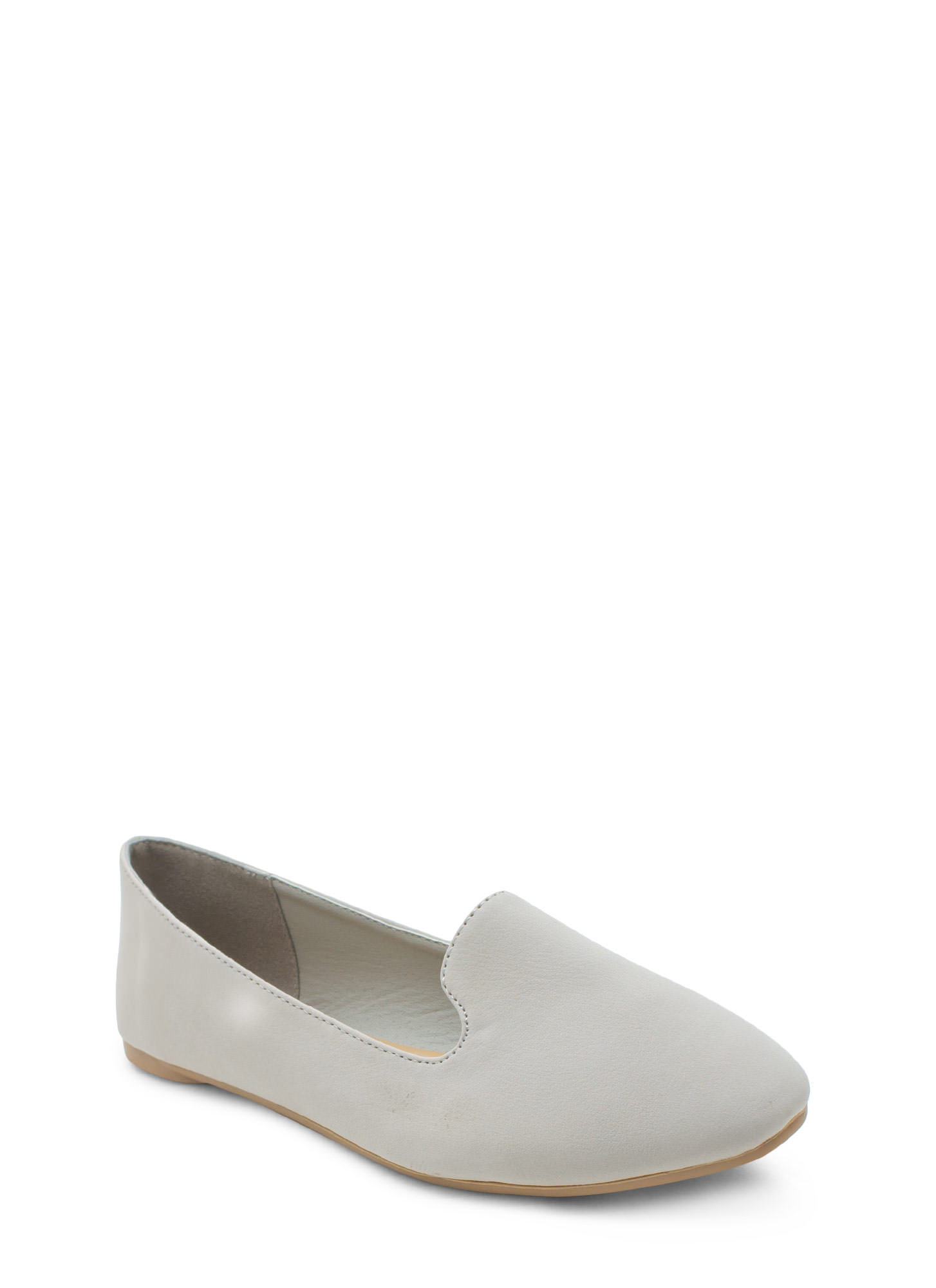 Go Plain Faux Nubuck Smoking Flat LTGREY